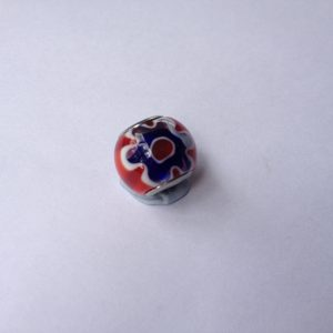 1 Red glass charm 12x14x14mm