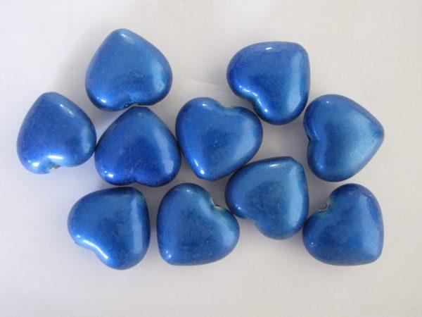 10 blue heart beads