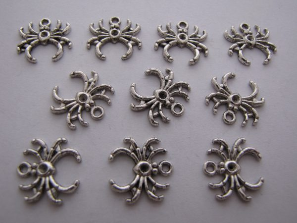 10 Silver metal spider charms