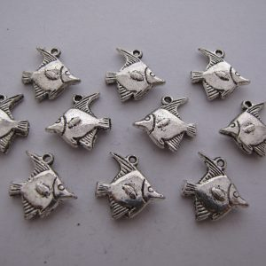 10 Silver metal fish charms