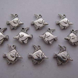 10 Silver metal fish charms