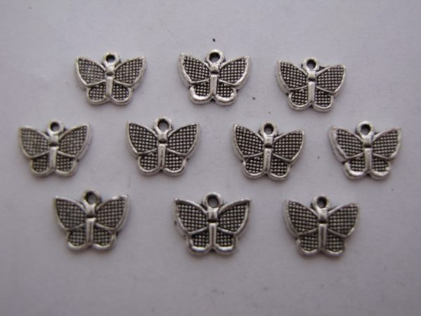 10 Silver metal butterfly charms