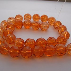 Orange faceted beads 1 Strand