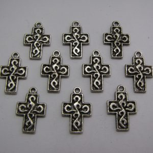 10 Silver metal cross charms