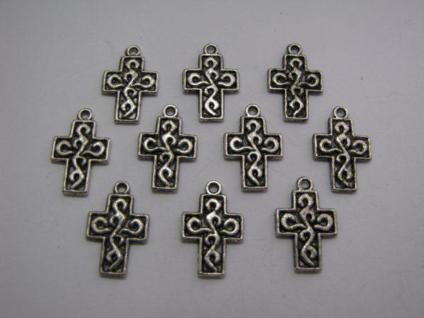 10 Silver metal cross charms