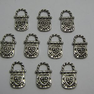 10 Silver metal bag charms