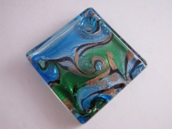 Aqua and green glass pendant