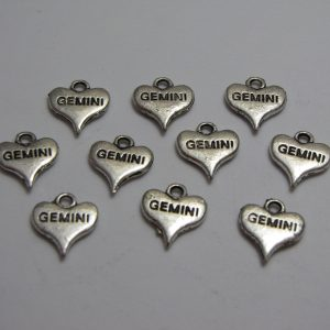 10 Silver metal gemini hearts