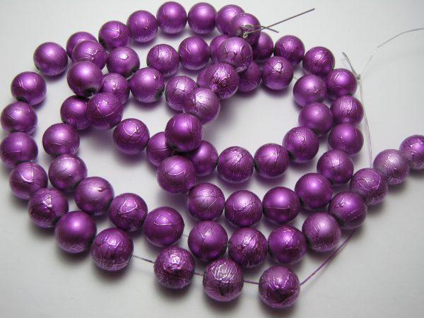Purple painted beads 12mm