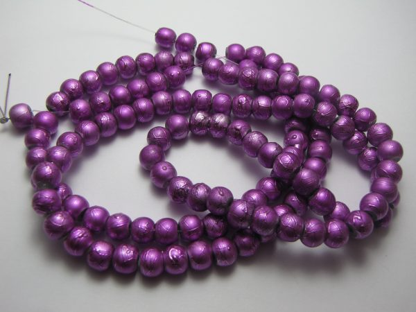 Purple painted beads 8mm