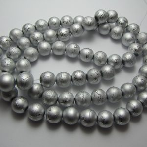 Silver painted beads 12mm