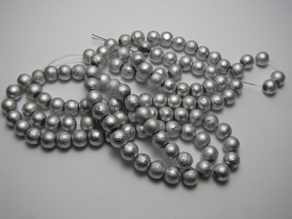 Silver painted beads 8mm
