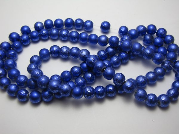 Blue painted beads 8mm
