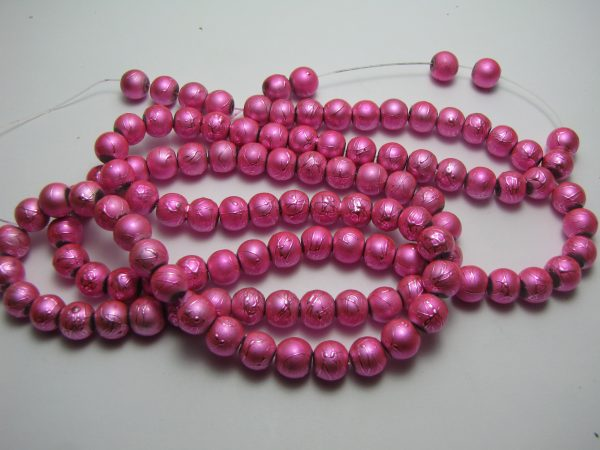 Pink painted beads 8mm