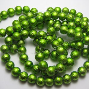 Green painted beads 8mm