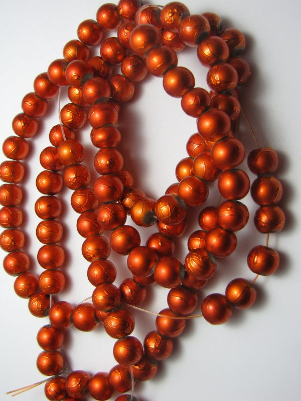 Orange painted beads 8mm