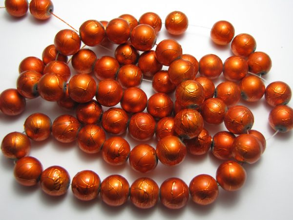 Orange painted beads 12mm