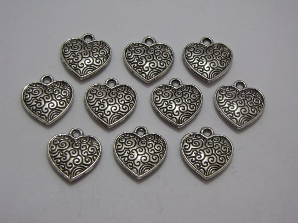 10 Silver metal heart charms