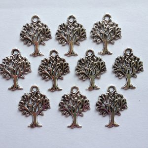 10 Silver metal tree charms