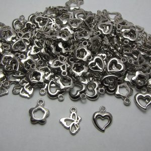 40 Mixed silver coloured charms