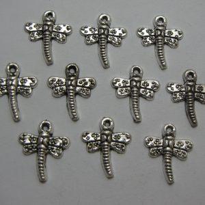 10 Silver metal dragonflies
