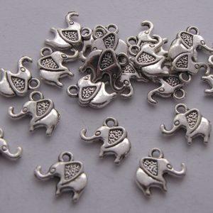 20 Silver metal elephant charms