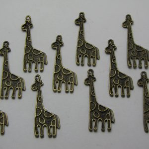 10 Bronze metal giraffe charms