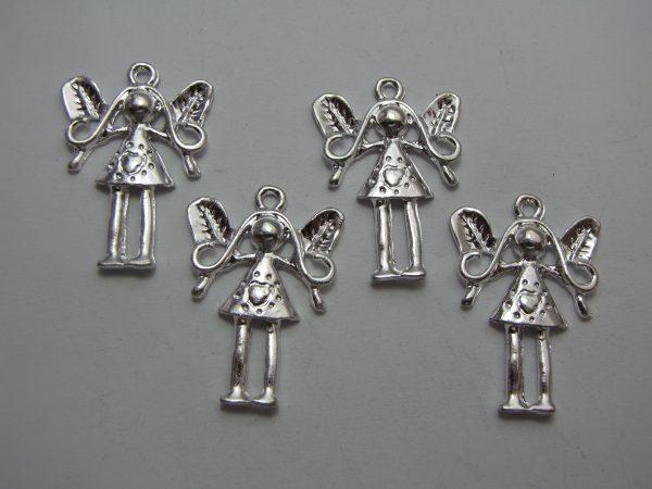 4 Silver metal girl charms