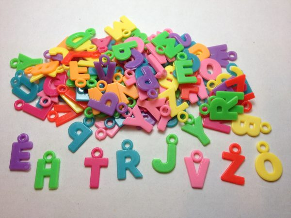 100 Coloured letter charms