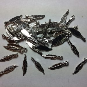 50 Silver metal feather charms