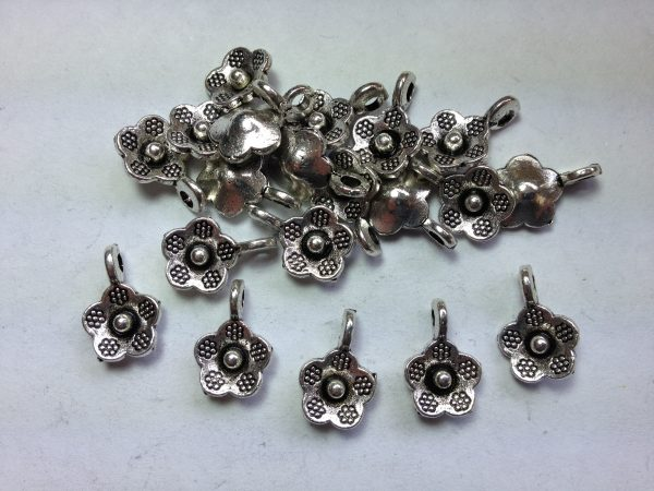 20 Silver metal flower charms