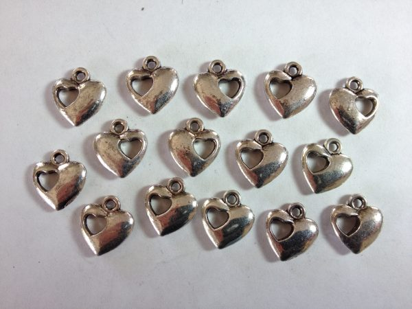 15 Silver metal heart charms