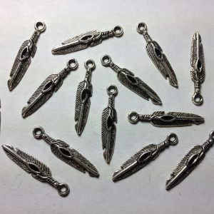 15 Silver metal feather charms