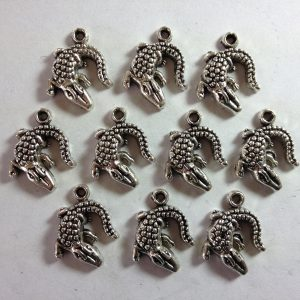 10 Silver metal crocodile charms