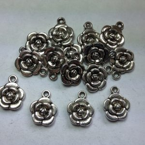 15 Silver metal flower charms