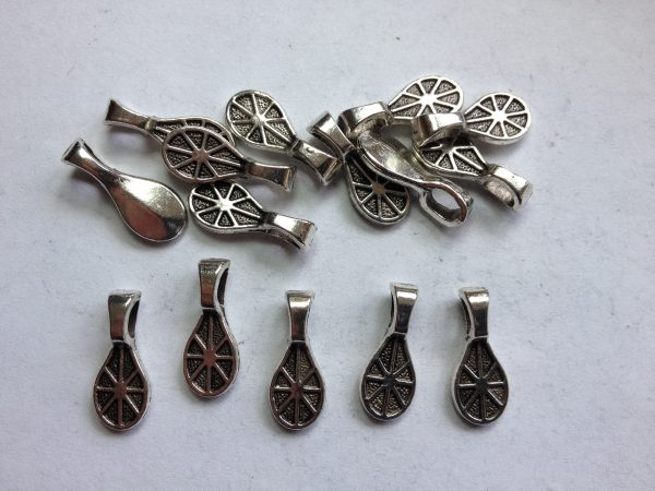 15 Silver metal tear drop charms