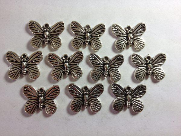 10 Silver metal moth charms