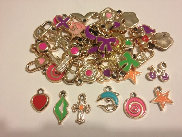 40 Coloured charms mixed