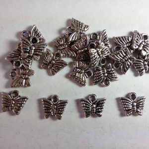 20 Silver metal butterfly charms