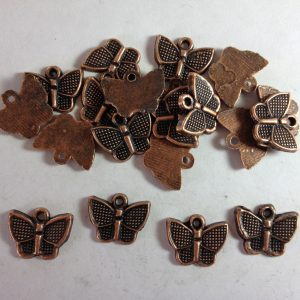 20 Copper metal butterfly charms