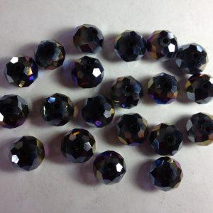 20 Black rondelles 10x8mm