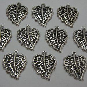 10 Silver metal leaf charms