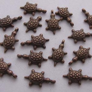 15 Copper metal turtle charms
