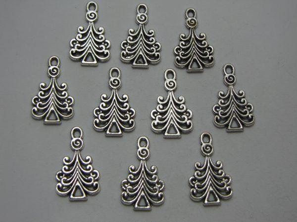 10 Silver metal tree charms